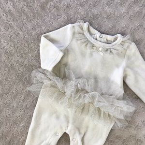 First Impressions One Piece Romper Tutu Cream